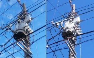 町内の、、台風24号による小規模停電、、、仮修復、、