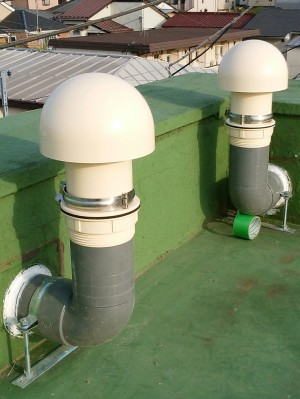 屋上の防水工事 天井裏排気口の位置変更